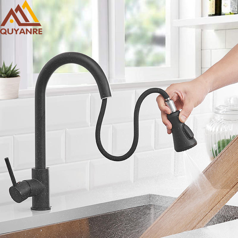 Quyanre Matte Black Kitchen Faucets 3-way Pull Out Sprayer Kitchen Mixer Tap Single Handle Mixer Tap 360 Rotation Kitchen Mixer