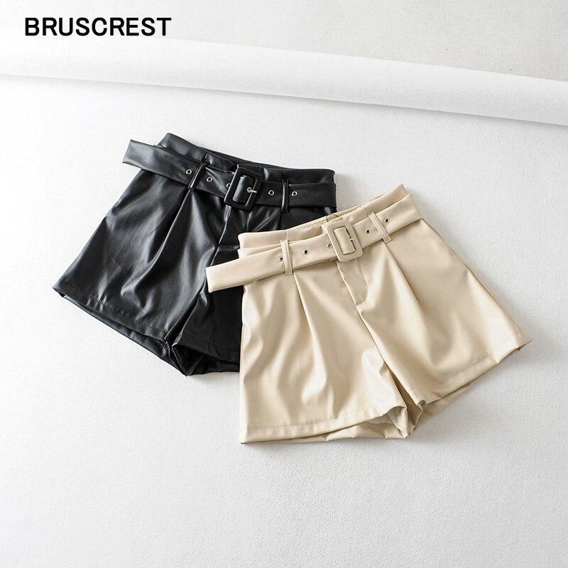 2020 New Leather Shorts Korean Ladies High Waist Shorts Leather Casual Belt Punk PU Faux Leather Shorts Women Black Treetwear
