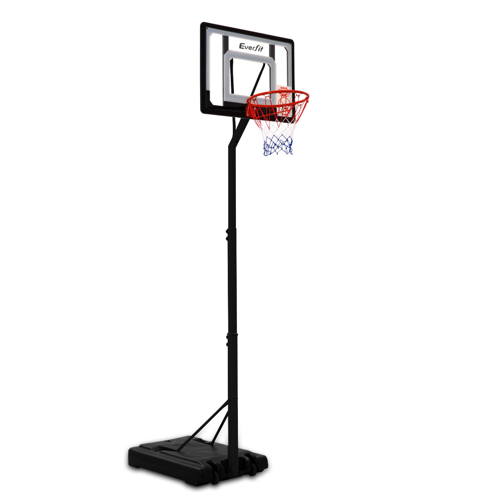 Everfit Adjustable Portable Basketball Stand Hoop System Rim Shatterproof PVC High-Tensile Steel Structure Material A2