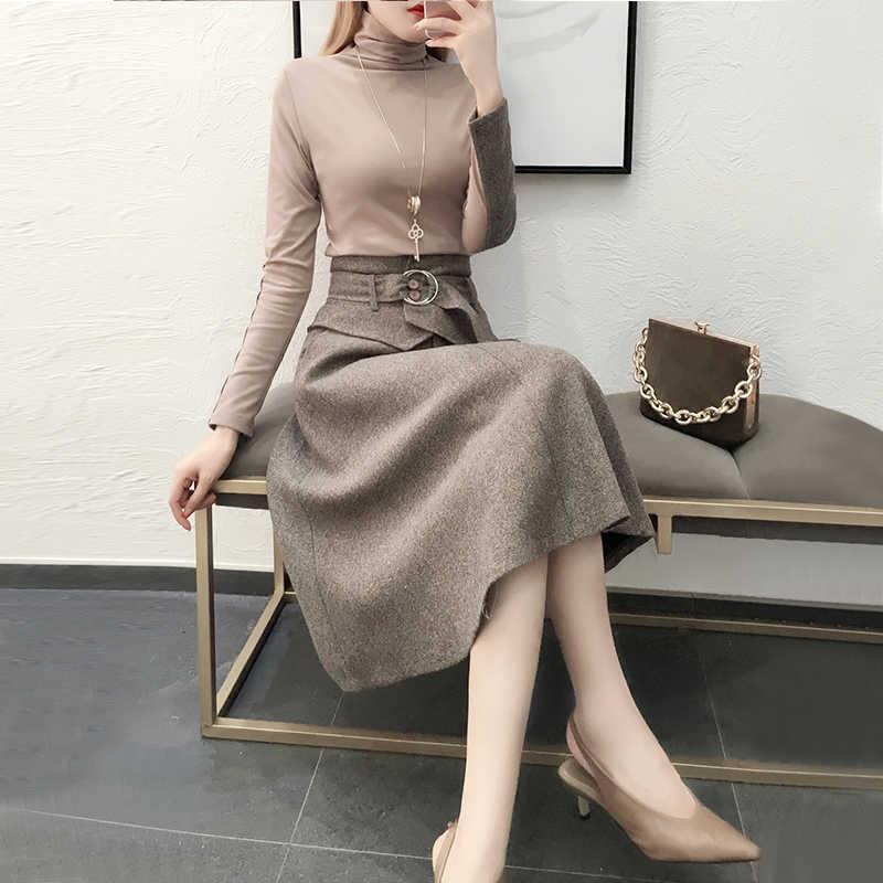 النساء 2 قطعة مجموعة الحياكة أعلى و تنورة 2020 جديد أزياء الخريف الإناث الدعاوى الحلو مجموعات السيدات أنيقة ازياء LWL588