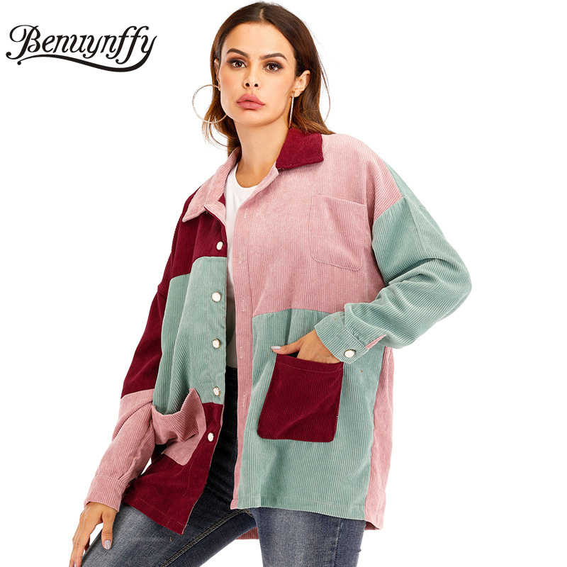 Benuynffy Mixed Pocket Front Color <font><b>Block</b></font> Women Corduroy Jacket Autumn Casual Lapel Single Breasted <font><b>Coat</b></font> Outerwear Tops Female image