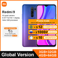 Versione globale Xiaomi Redmi 9 3GB 32GB / 4GB 64GB Smartphone Helio G80 Octa Core 13MP Quad Camera 5020mAh 6.53