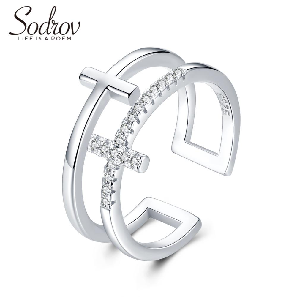 Sodrov Silver 925 Jewelry For Women 925 Sterling Silver Trendy Cross Finger Ring Size Adjustable Opening Silver Rings(China)