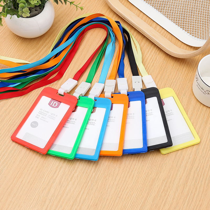 With Lanyard Candy-Colored Plastic Customizable Log Access Control Certificate Card Sleeve Employee Work Permit Badge Badges Tag