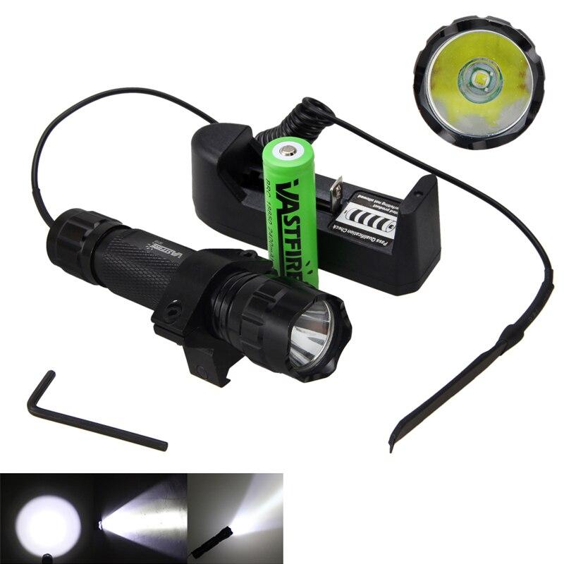 5000лм XM-L Q5 T6 светодиодный оружейный светильник белый тактический охотничий флэш-светильник+ прицел страйкбол крепление+ пульт дистанционного управления+ 18650+ зарядное устройство - Цвет: Белый