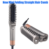 New Mini Folding Electric Straight Hair Comb Straightener Straight Hair Artifact Beard Comb Multifunctional Curling Hair Comb