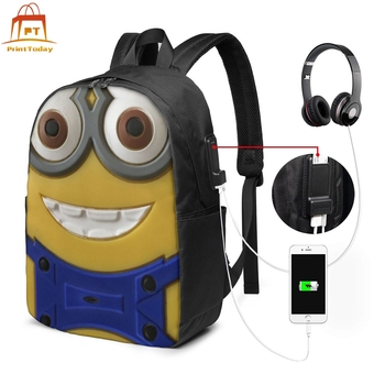 Minion Backpack Minion Backpacks Multi Pocket High quality Bag Teen Street Print Men - Women Trending Bags лонгслив printio mario minion