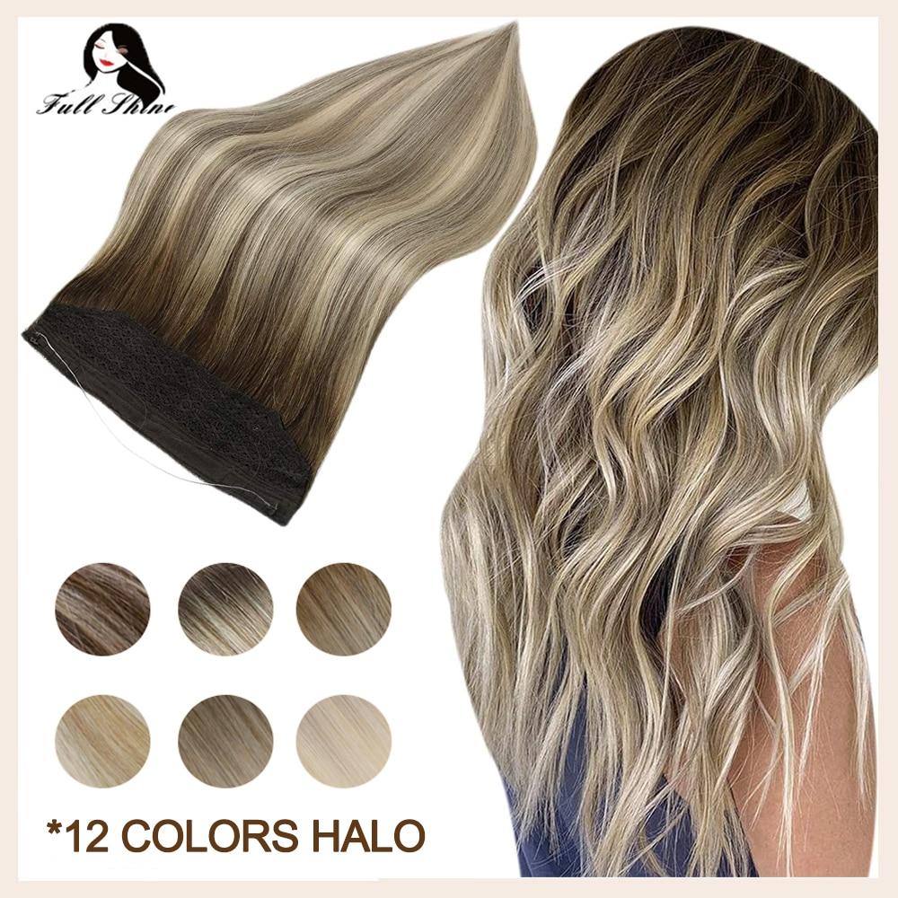 Полностью Сияющие волосы для наращивания в виде рыбьей линии, одна деталь, заколки Halo Bayalage, цвет 100% Remy, человеческие волосы для наращивания, ...