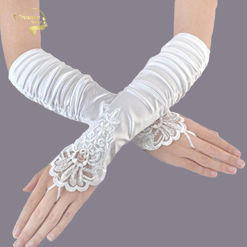 2019 New Cheap Fingerless Gloves Satin Wedding Bridal Gloves Beaded Lace Gloves Wedding Accessories Elbow Length Free Shipping