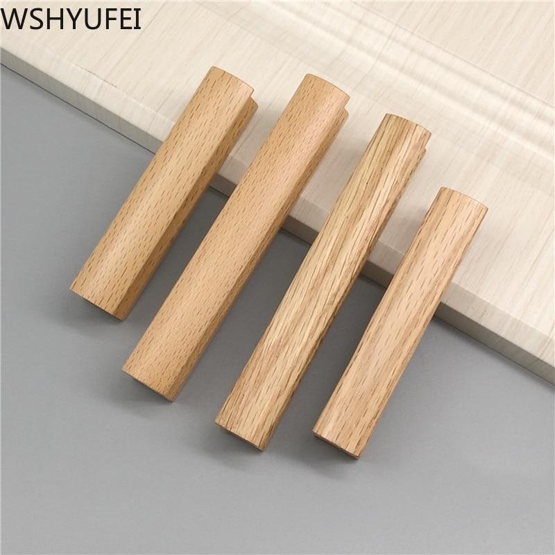 Wooden Home Handle Kitchen Cabinet Knobs Handles Vintage Drawer Wardrobe Cupboard Door Pulls Handle Hardware Decoration