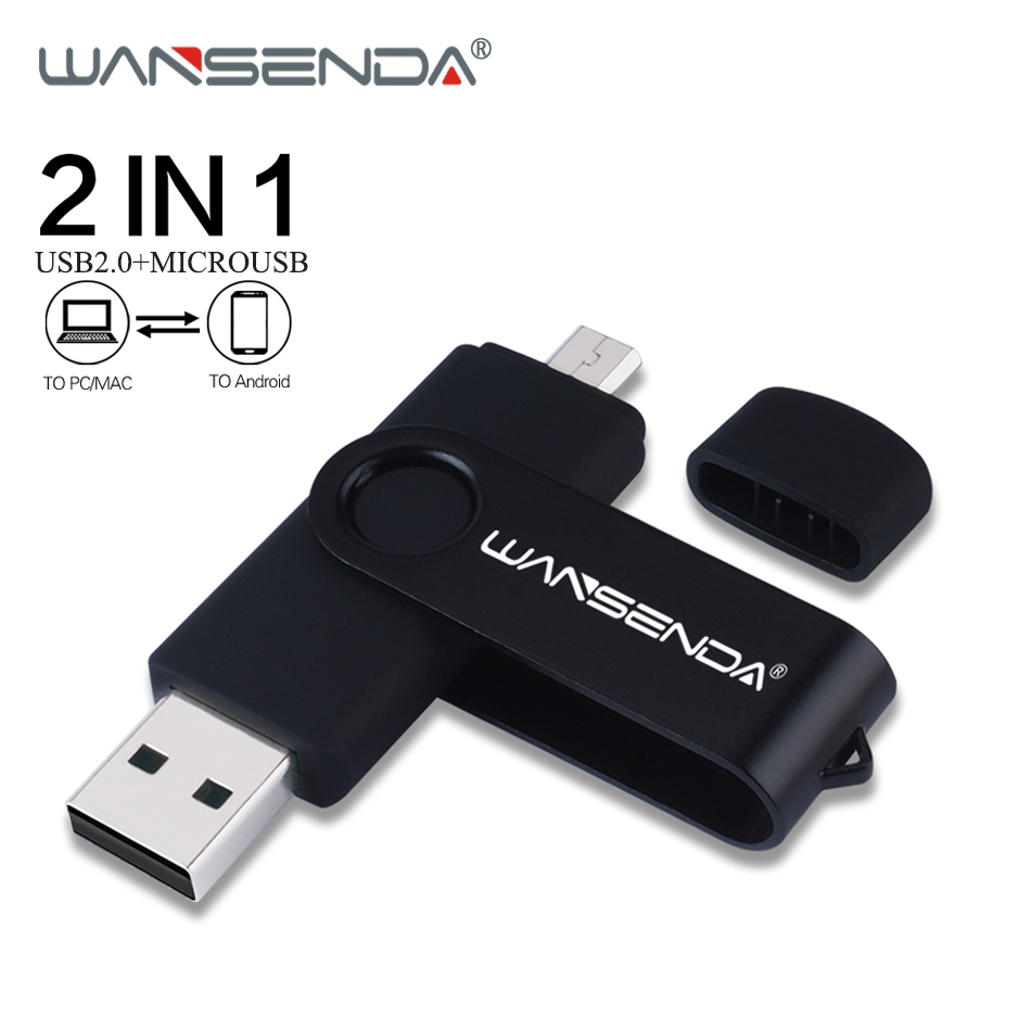 WANSENDA OTG USB Flash Drive 128GB Pen Drive 16GB 32GB 64GB 256GB Pendrive Dual Drive Micro USB Stick For Android Smartphone/PC