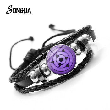 SONGDA Naruto Shippuden Anime Leather Bracelet Uchiha Sasuke Icon Glass Round Photo Handmade Beaded Bracelets Fashion Fans Gift