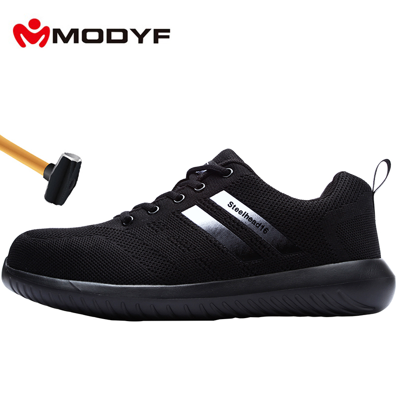 MODYF Men's Steel Toe Work Safety Shoes Anti-smashing Anti-puncture Breathable Lightweight Construction Protective Footwear