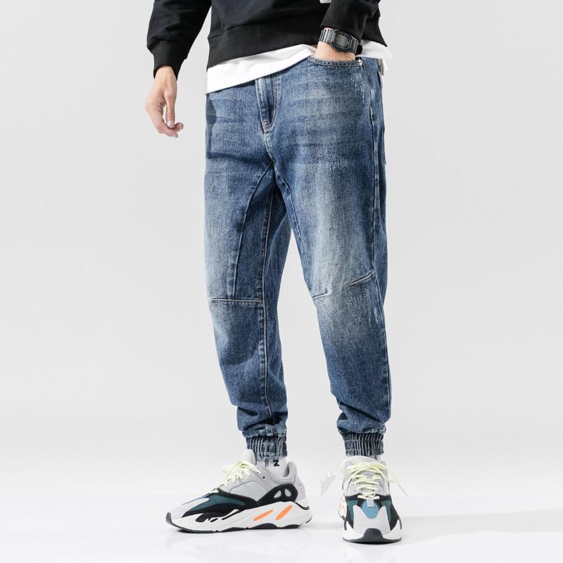 Fashion Streetwear Men Jeans Retro Blue Spliced Designer Denim Cargo Pants Men Harem Jeans Loose Fit Hip Hop Joggers Jeans Men