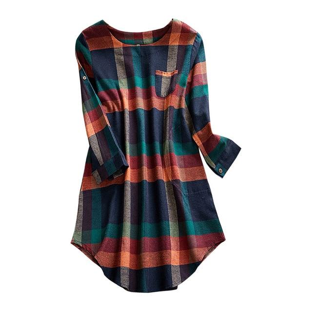 2020 New Plus Size Plaid Dress Women O-neck  Long Sleeve Loose Pullovers Streetwear Mini Dress Casual Womens 3