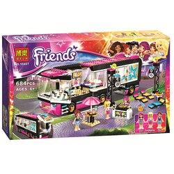 684 pçs pop star tour bus 10407 amigos série menina amigos blocos de construção brinquedos para crianças compatíveis com lepining 41106 presente