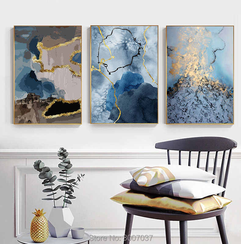 Handmade Abstract Flowing Golden Blue Canvas Painting Luxurious Oil Painting Wall Pictures for Living Room Tableau Decoration
