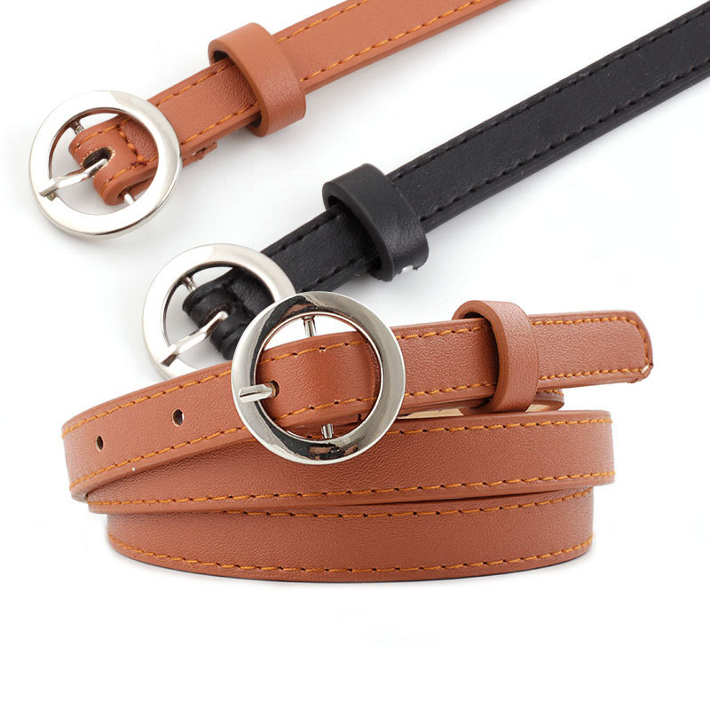 Luxury Ladies White Black Brown Pink Leather Narrow Thin Waist Belt Female 1.4cm Wide Circle Waist Belts Women Jean Waistband