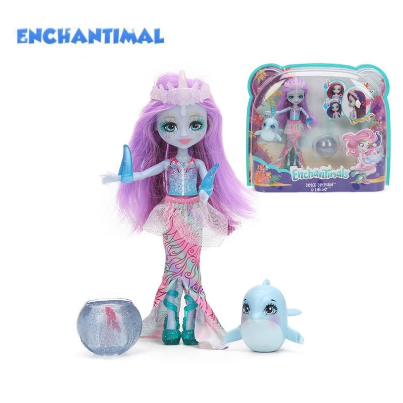Enchantimals Dolls Toys FKV54 Dolce Dolphin Largq Jessa Jellyfish Marisa Clarita Clownfish Cackle Figure Set Model Fashion Doll