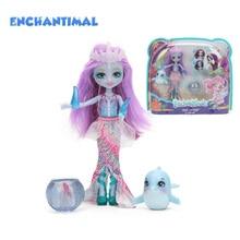 Enchantimalsตุ๊กตาของเล่นFKV54 Dolce Dolphin Largq JessaแมงกะพรุนMarisa Clarita Clownfish Cackleชุดรูปชุดตุ๊กตาแฟชั่น