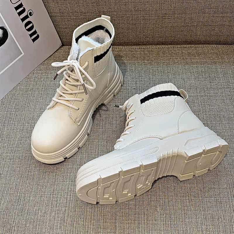 2019 nuevas botas de invierno botas blancas de moda zapatos de mujer Botines negros botas de nieve botas de combate de cuero con cordones botas de piel caliente plataforma
