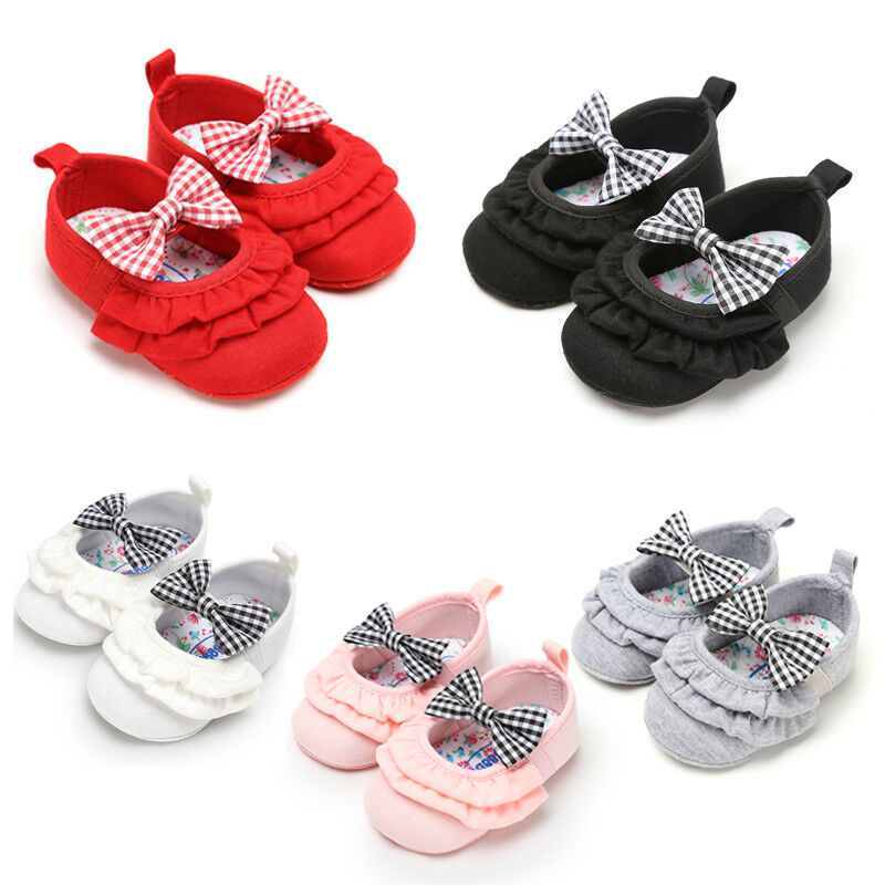 Baby Infant Newborn Boys Girl Soft Sole Bowknot Crib Shoes Baby Shoes Ruffle Solid Shoes