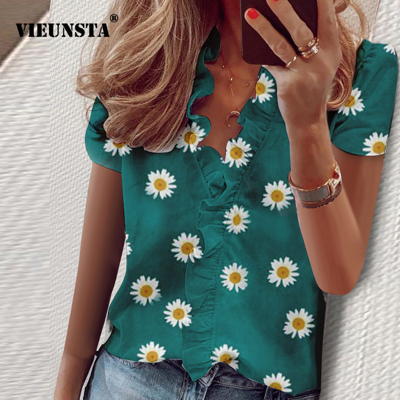 Elegant Daisy Pineapple Print Blouse Shirts Office Lady 2020 Spring Summer Ruffle Women Blouses Sexy V-neck Short Sleeve Tops