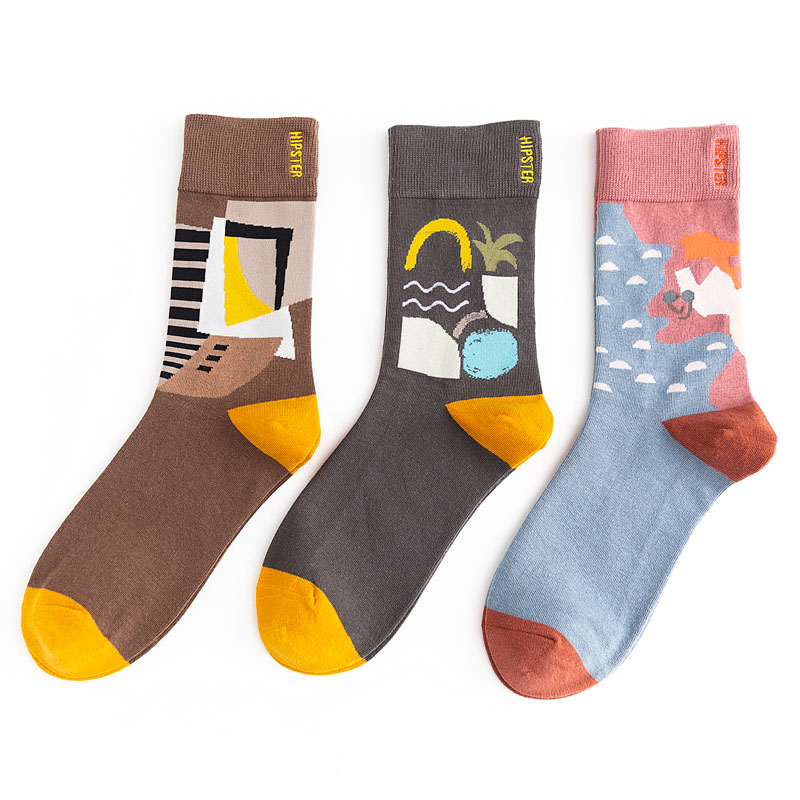Unisex Painting Style Men Socks 100 Cotton Harajuku Colorful Full Socks Men 1 Pair Gifts Size