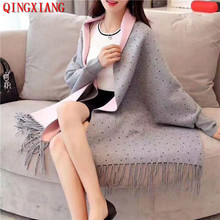 2019 Winter Beading Crystal Knitted Cardigan Vintage Shawl Women Autumn Female Long Sleeves Cape Outside Shinny Street Wear