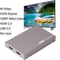 4K 60fps HDMI 2.0 carte de Capture vidéo de dérivation USB 3.0 jeu HD diffusion en direct boîte d'enregistrement avec micro 3.5mm Gamepad entrée Audio