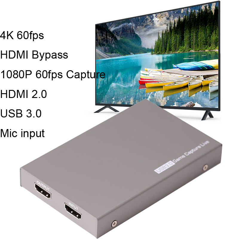 4K 60fps HDMI Bypass Video Capture Card USB 3.0 Game Streaming Live Stream Broadcast Record Box W/ MIC 3.5mm Gamepad Audio Input