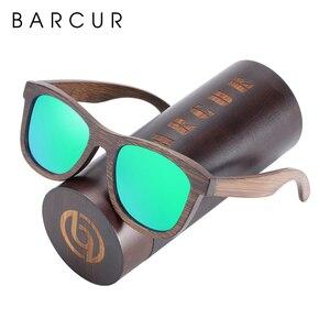 Image 5 - BARCUR نظارة شمسية خشبية الخيزران البني إطار كامل نظارات شمس بإطار خشبي الرجال الاستقطاب النظارات النساء خمر