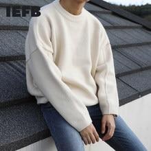 IEFB – pull tricoté à col rond pour homme, ample, vintage, surdimensionné, style coréen, collection automne et hiver