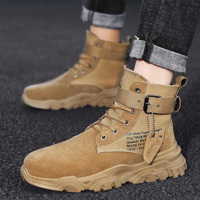 Büyük dalga inek süet deri erkek asker bileğe kadar bot toka ile erkek askeri postal erkek ayakkabı İş güvenliği botları ordu çizme