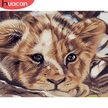 HUACAN DIY Paint By Number Tiger Hand Painted Painting Art Gift Pictures By Numbers Animal Kits Drawing On Canvas Home Decor
