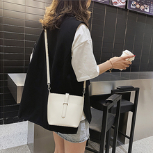 Fashion Female Bucket handBag Simple Woman Solid Color Shoulder Bag PU Leather Youth Ladies Large Capacity Bag Daily White цена 2017