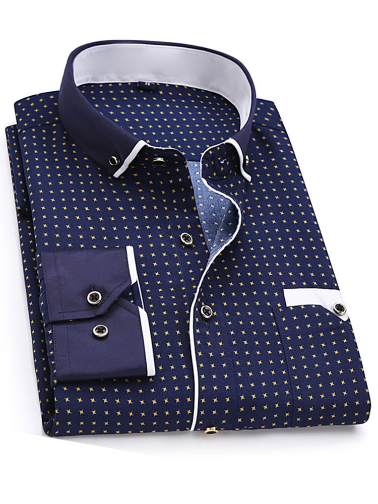 Men Dress Shirt Stitching Fabric Slim-Fit Long-Sleeve Print Soft Fashion 8XL Pocket-Design