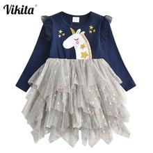 VIKITA Kids Tutu Dress for Girl Children Licorne Cartoon Dress Girls Birthday Party Princess Dresses Children Autumn Clothes