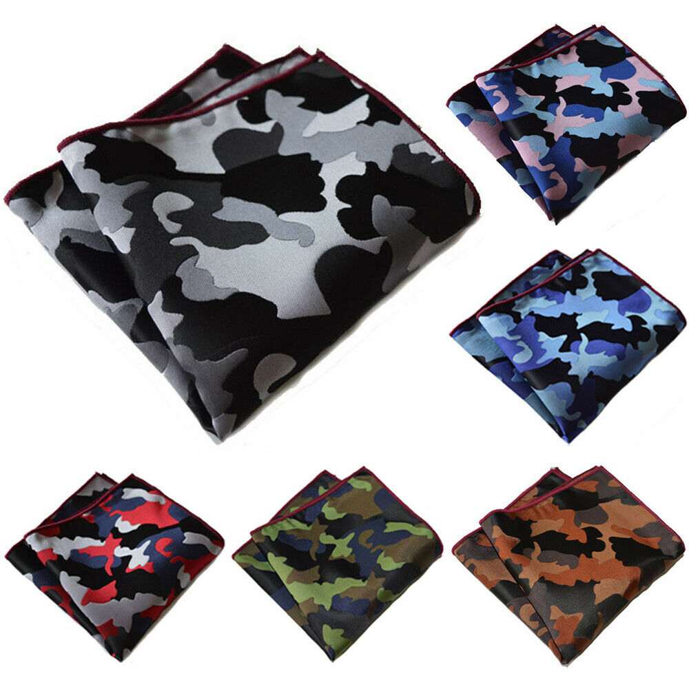 6 PCS Men's Pocket Square Camouflage Printed Hanky Wedding Party Handkerchief YXTIE0302A