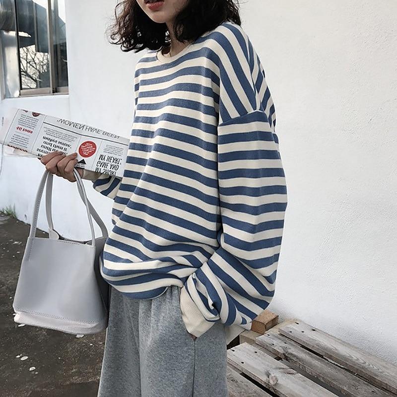 Sweat à capuche en coton à rayures gothiques pour femme, vêtement à manches longues, ample, Kawaii, coréen, fin, Harajuku, automne 2021 1