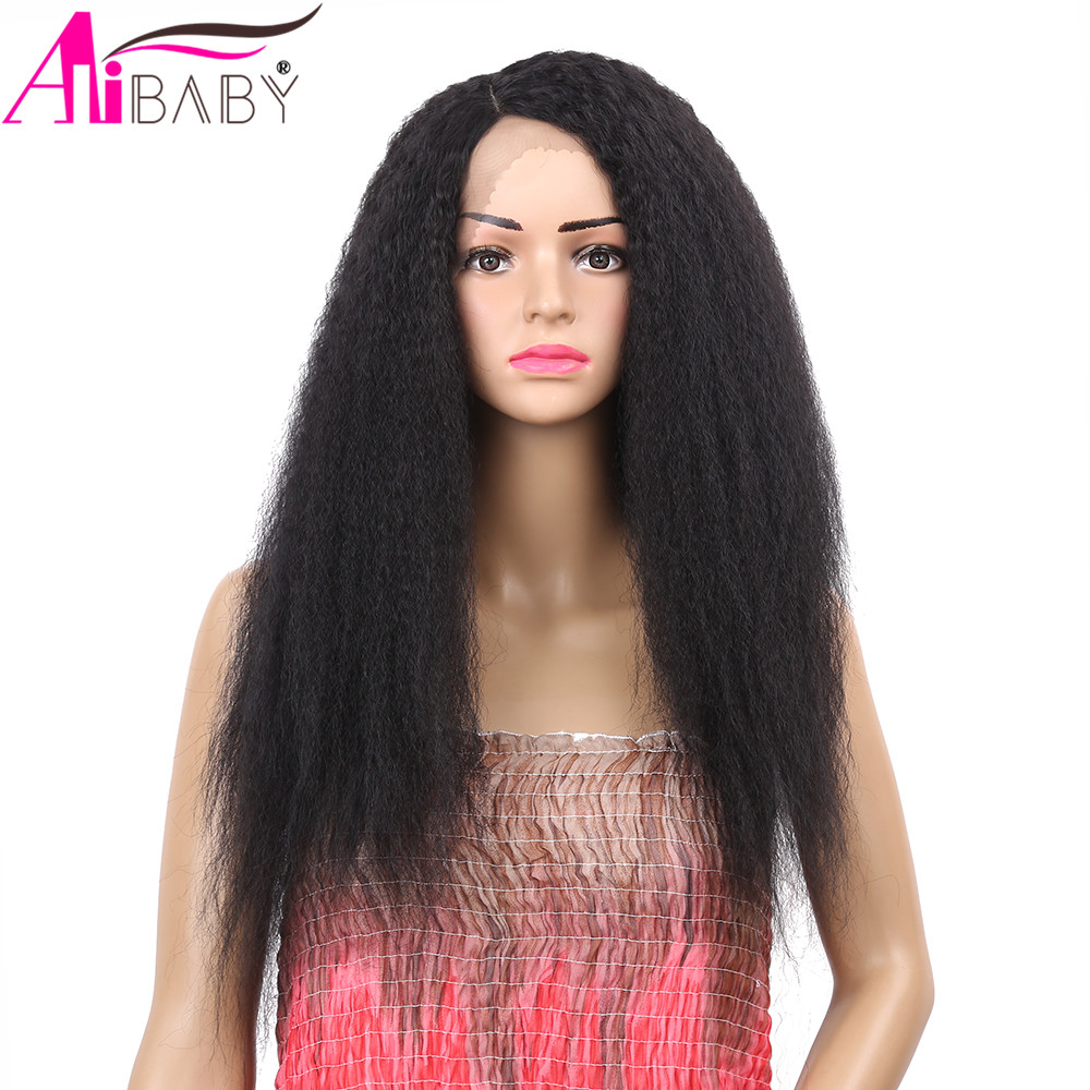 24inch Kinky Straight Yaki 150% Density Brazilian Synthetic Lace Front Wig Fluffy Hair Wigs For Black Women Alibaby