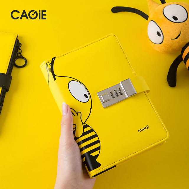 Kawai A6 Diary Planner With Lock Bee Notebook Lockable PU Leather Notepad Traveler Journal DIY Agenda School Stationery Gifts