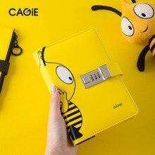 Kawai cuaderno diario A6 con bloqueo, cuaderno de abeja con bloqueo, Bloc de notas de cuero PU Bloqueable, diario de viajero, Agenda DIY, papelería escolar, regalos