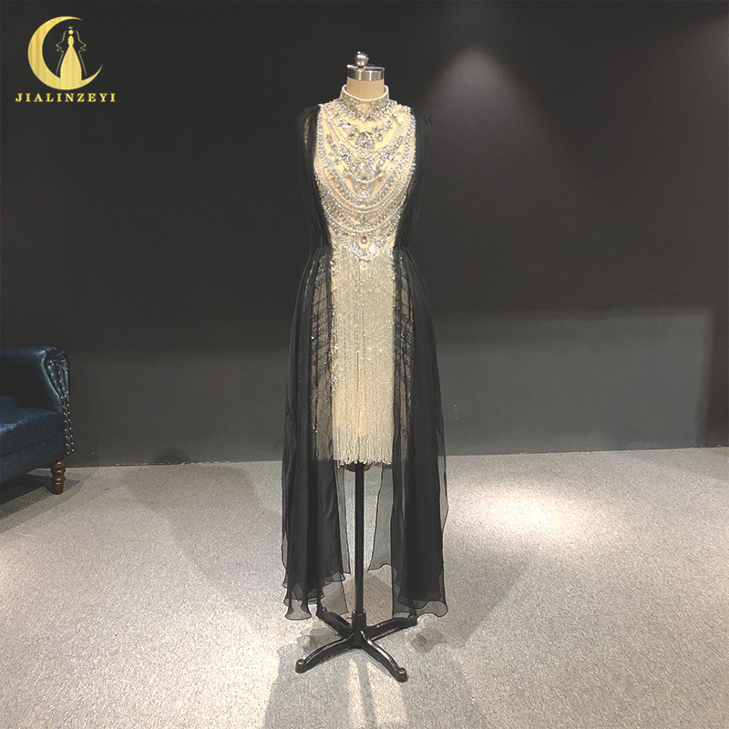 Rhine real Pictures High Neck Zuhair Murad Sliver Crystal Knee Length Luxurious formal dress evening dresses long 2020