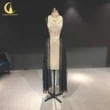 Zuhair, photo rhénane, robe de soirée de standing à col haut, couleur argent, longueur genou, luxueuse, robe de soirée, 2020