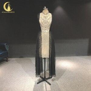 Image 1 - Zuhair, photo rhénane, robe de soirée de standing à col haut, couleur argent, longueur genou, luxueuse, robe de soirée, 2020
