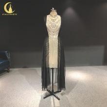 라인 진짜 사진 높은 목 zuhair 무라드 은색 크리스탈 무릎 길이 고급스러운 공식적인 드레스 이브닝 드레스 긴 2020