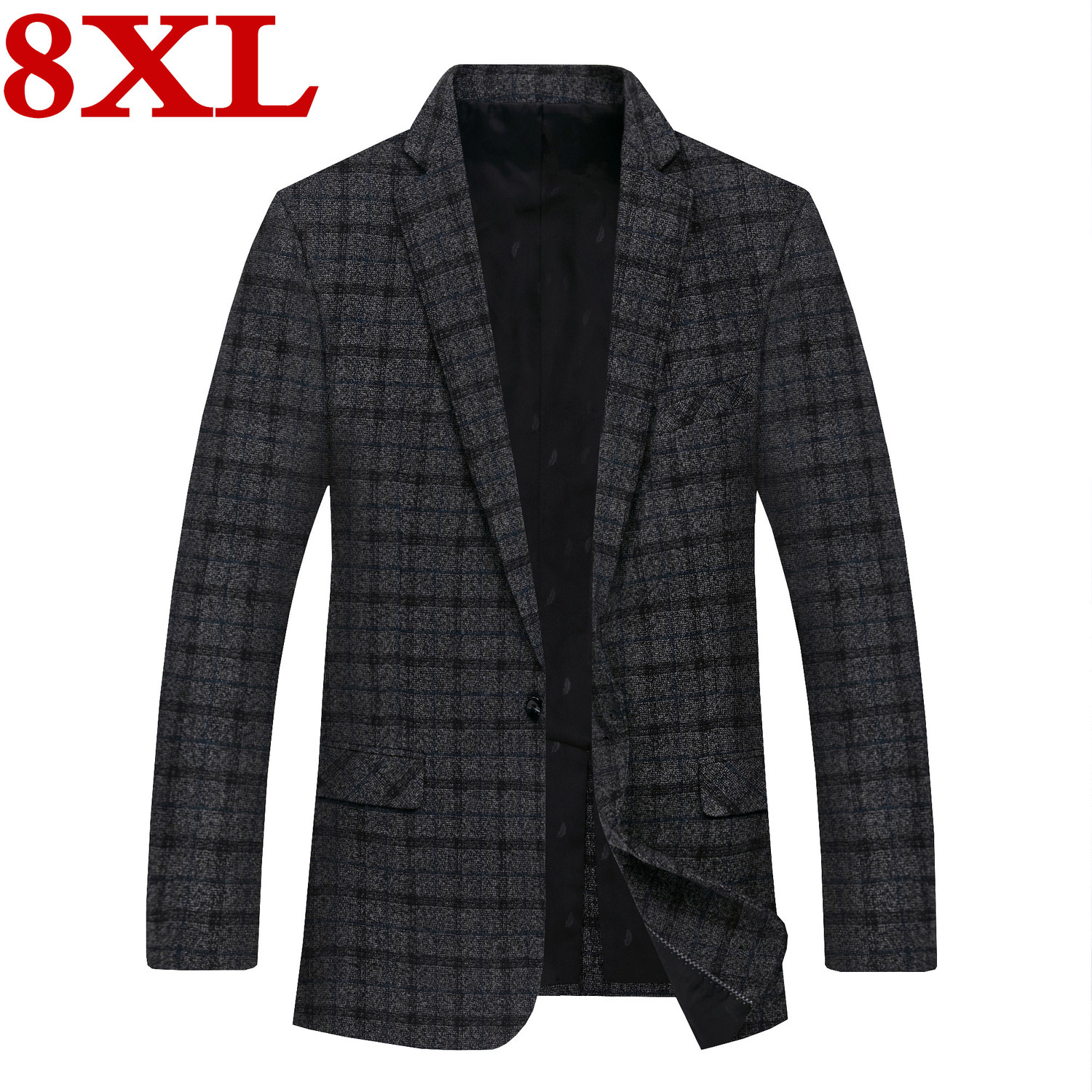 Plus Size 8XL 7XL 6XL New Casual Suit For Middle-aged Men High-end Spring And Autumn Lattice Suit Jacket Men Jackets And Blazers