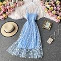 Женское платье с принтом маргариток, летнее сексуальное кружевное Сетчатое платье на бретельках с рюшами и цветочным принтом, длинное плат...