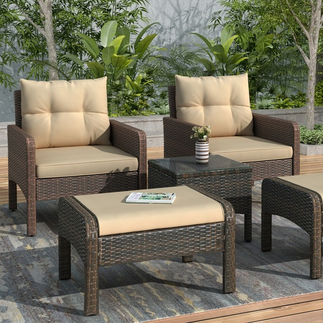 5-Piece PE Rattan Wicker Outdoor Patio Furniture Set With Glass Table 3